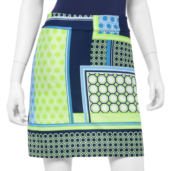 Mixed Media Geo Scarf Print Skort - EPNY