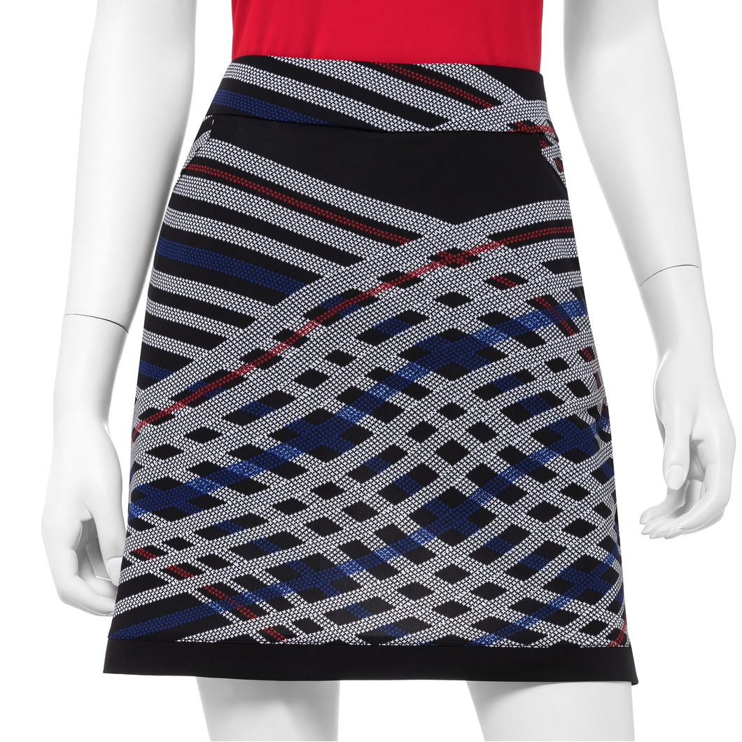 Houndstooth Check Bias Plaid Print Skort