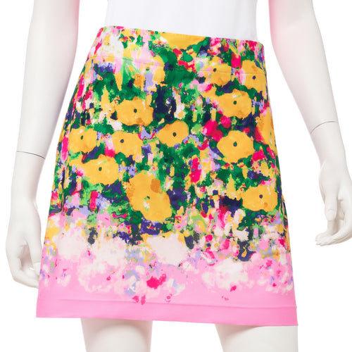 Monet Watercolor Floral Border Print Skort - EPNY