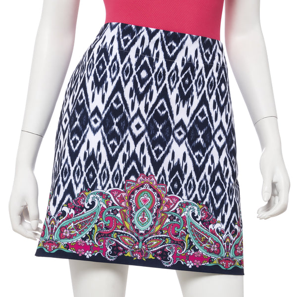 19 Inch Tech Stretch Ikat Border Skort