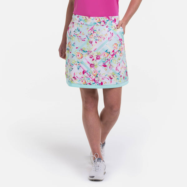 19 INCH TECH STRETCH LINEAR FLORAL SKORT