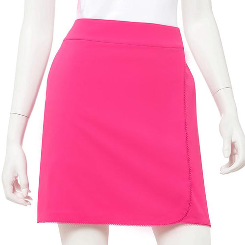 Picot Trim Curved Faux Wrap Skort - EPNY
