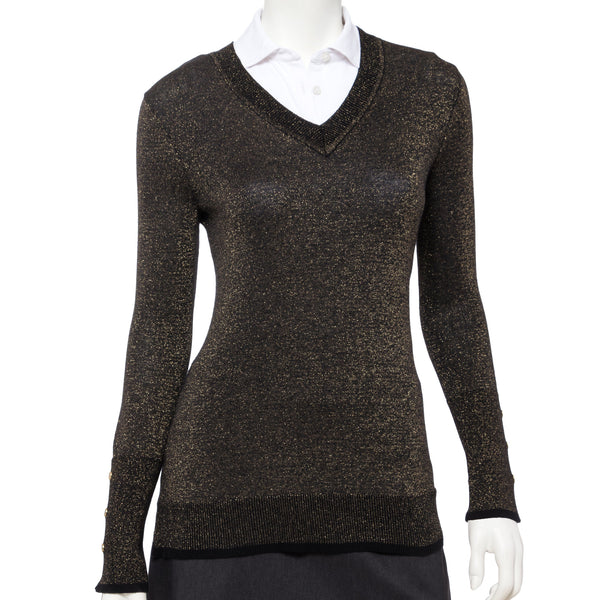 Long Sleeve Lurex Plaited V Neck Pullover - EPNY