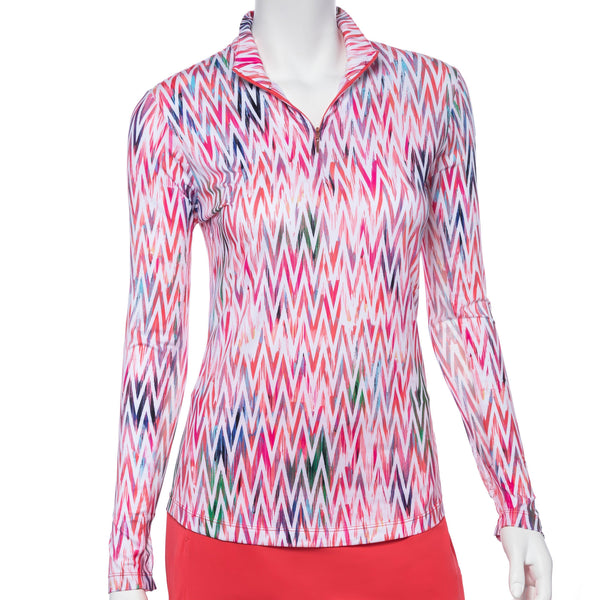 Long Sleeve Ikat Multi Textural Print Zip Mock Polo - EPNY