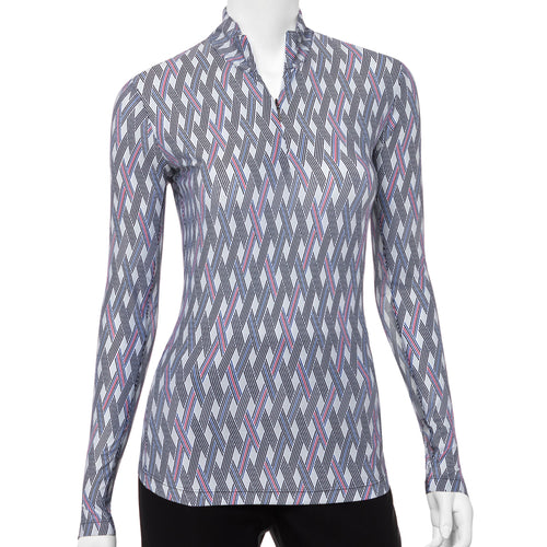 Long Sleeve Zig Zag Tricolor Geo Print Zip Mock Polo