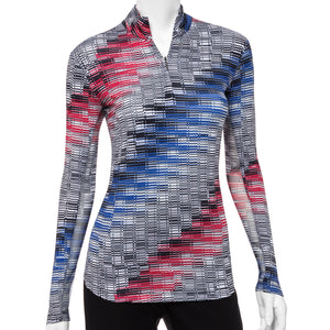 Long Sleeve Diagonal Grid Print Zip Mock Polo - EPNY