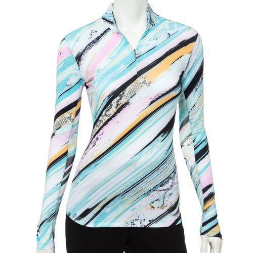 Long Sleeve Diagonal Brushstroke Snakeskin Print Zip Mock Polo - EPNY