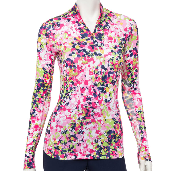 Long Sleeve Diagonal Vine Floral Print Zip Mock Polo - EPNY