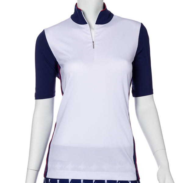 Elbow Sleeve Blocked Convertible Zip Collar Polo - EPNY