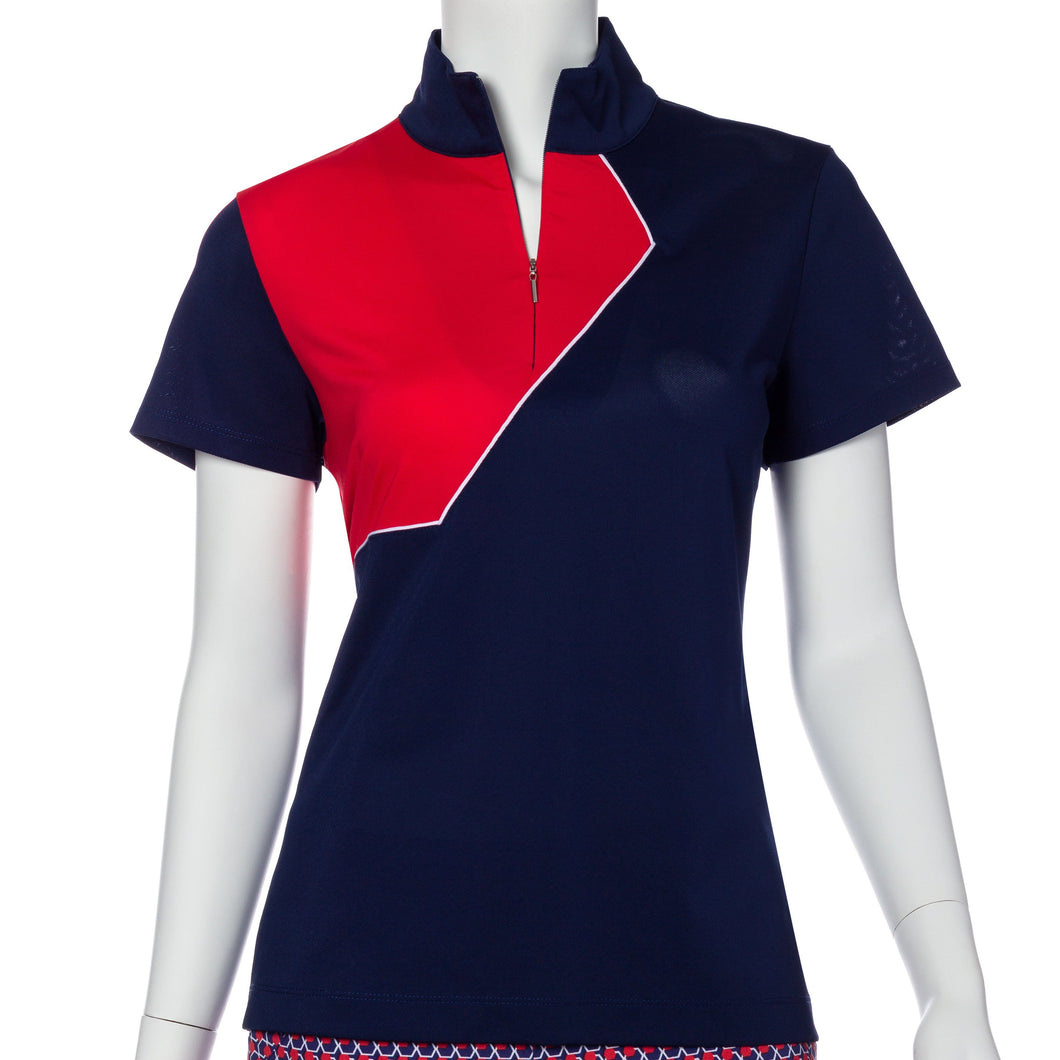 Short Sleeve Graphic Color Block Convertible Zip Collar Polo