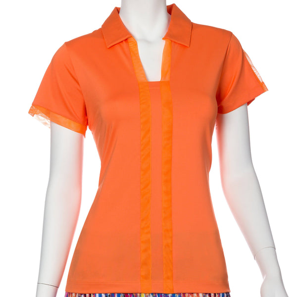 Short Sleeve Mesh Trim Open Neck Polo - EPNY