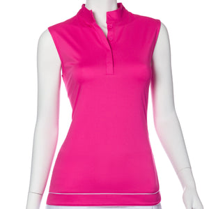 Sleeveless Piping Trim Polo