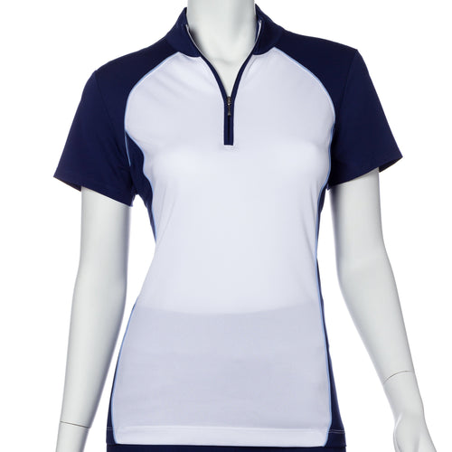 Short Sleeve Color Blocked Zip Mock Polo