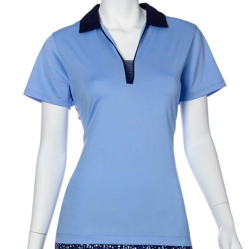 Short Sleeve Contrast Mesh and Tape Trim Polo - EPNY