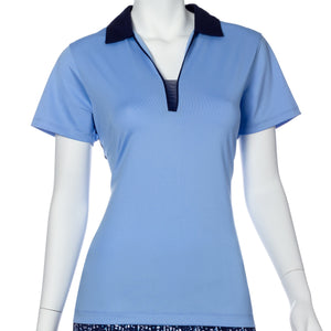 Short Sleeve Contrast Mesh and Tape Trim Polo