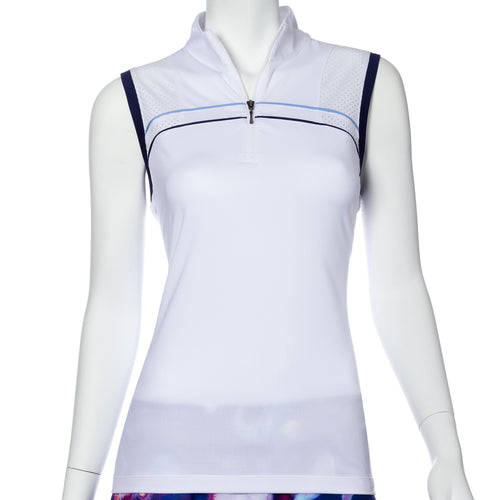 Sleeveless Piping Trim Perforated Blocked Polo