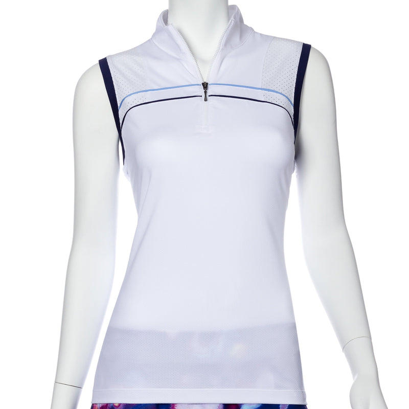 Sleeveless Piping Trim Perforated Blocked Polo - EPNY
