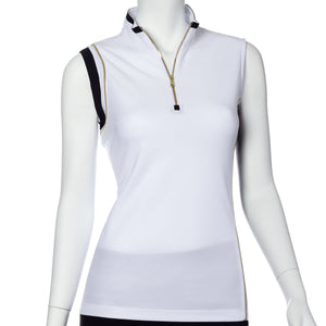 Sleeveless Asymmetric Blocked Polo