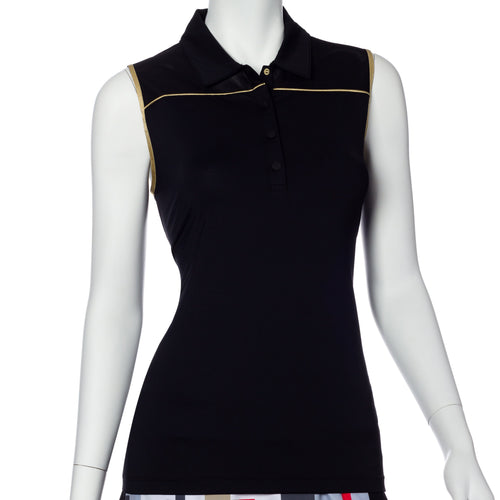 Sleeveless Gold Trim Cut Out Detail Polo