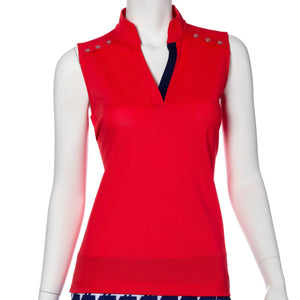 Sleeveless Crossover Placket Polo w/ Silver Button Detail