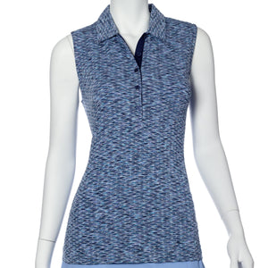 Sleeveless Bargello Jacquard Polo