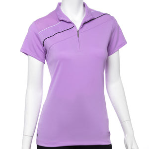 Cap Sleeve Contrast Piping Trim Convertible Zip Collar Polo