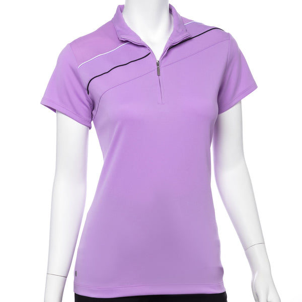 Cap Sleeve Contrast Piping Trim Convertible Zip Collar Polo - EPNY