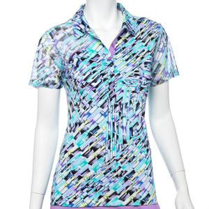 Short Sleeve Crosshatch Print Polo