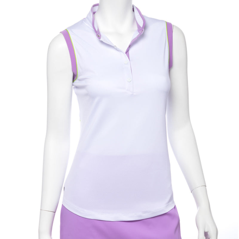 Sleeveless Mesh Blocked Contrast Trim Stand Color Polo - EPNY