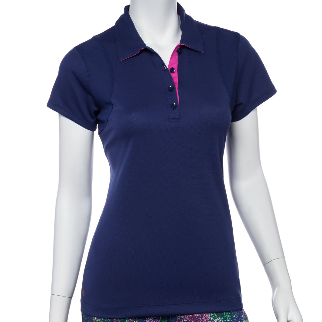 Cap Sleeve Mesh Blocking Tape Trim Polo