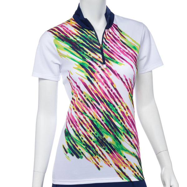 Short Sleeve Placed Diagonal Watercolor Spray Print Polo - EPNY