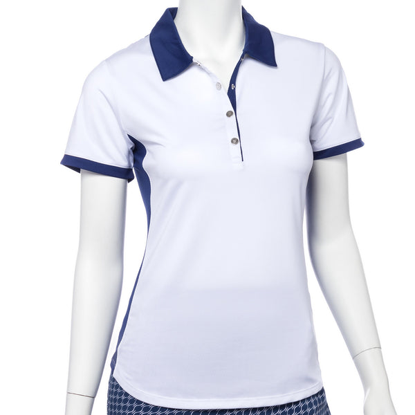 Short Sleeve Color Block Filament Tape Trim Polo - EPNY