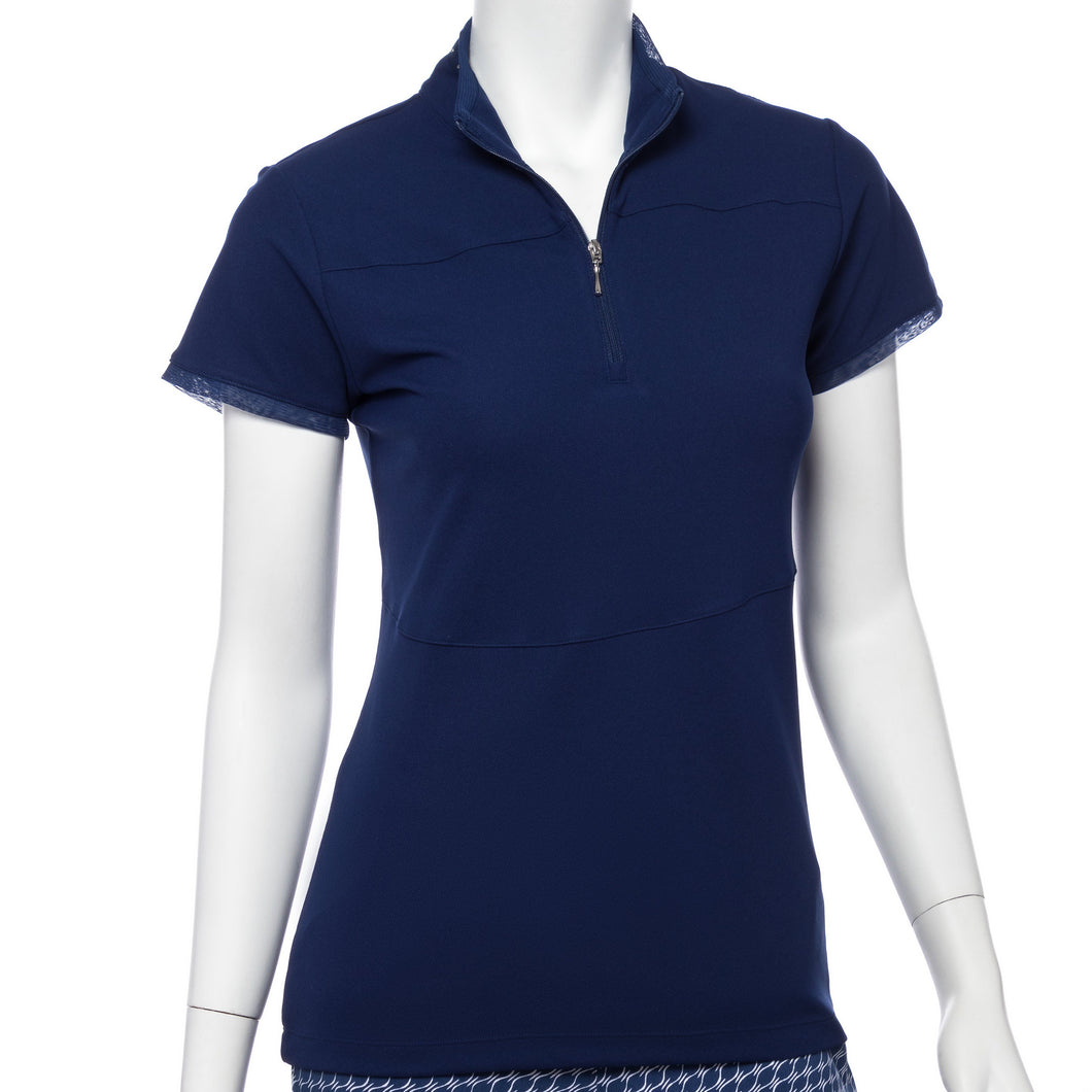 Cap Sleeve Stud Tape Trim Zip Mock Polo