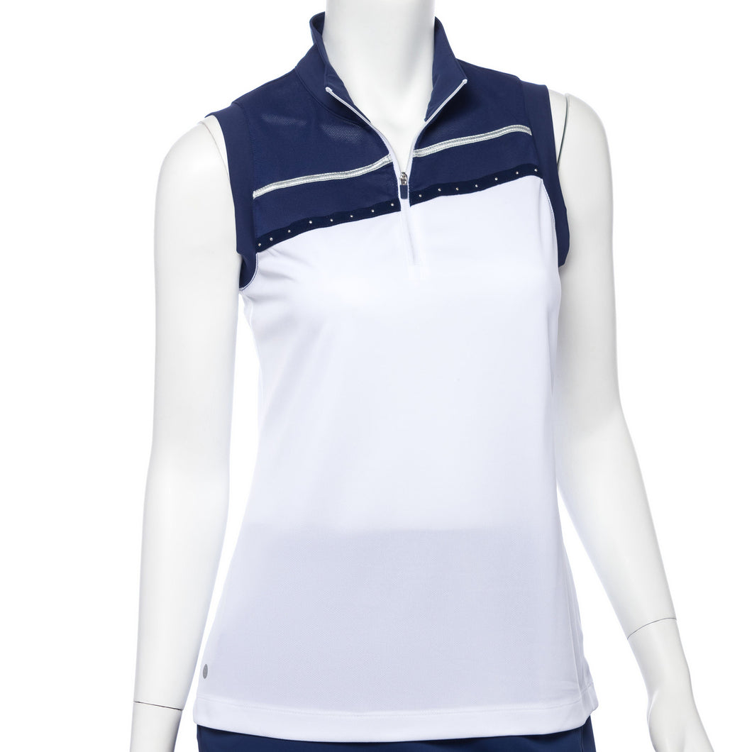 Sleeveless Stud Tape Trim Color Blocked Polo
