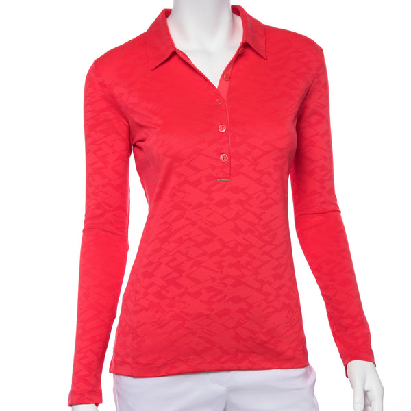 Long Sleeve Crosshatch Mesh Jacquard Polo - EPNY