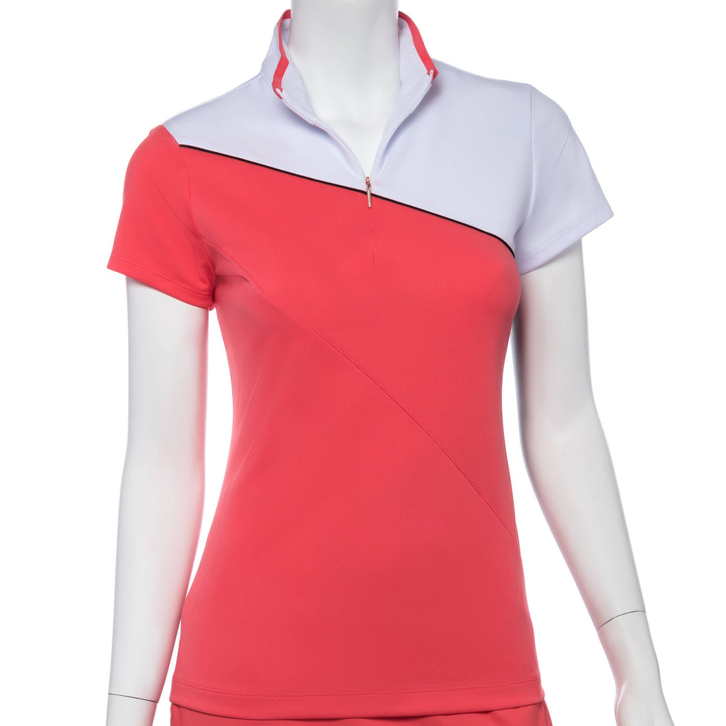 Cap Sleeve Piping Trim Convertible Zip Collar Polo