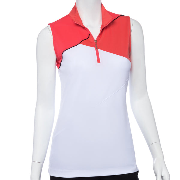 Sleeveless Color and Mesh Blocked Zip Mock Polo - EPNY