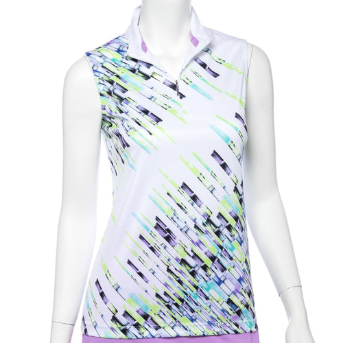 Sleeveless Crosshatch Placed Print Convertible Zip Collar Polo