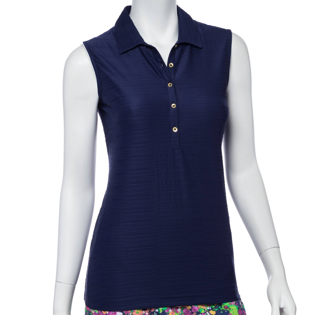 Sleeveless Textured Jacquard Polo