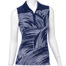 Sleeveless Bicolor Swirling Print Blocked Polo