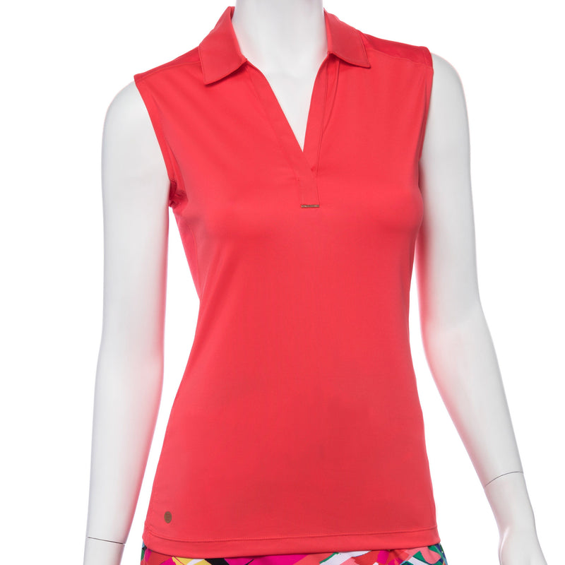 Sleeveless Crosshatch Mesh Blocked Y Neck Polo - EPNY