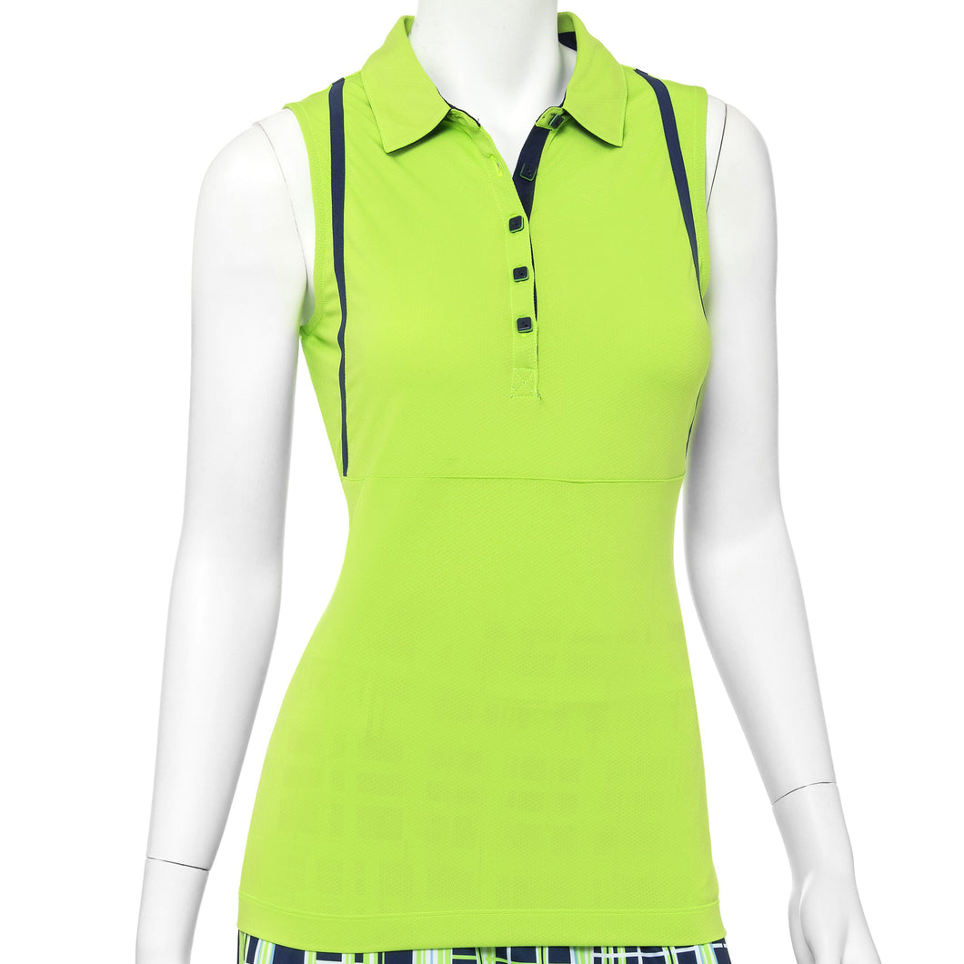 Sleeveless Contrast Tape Trim Polo