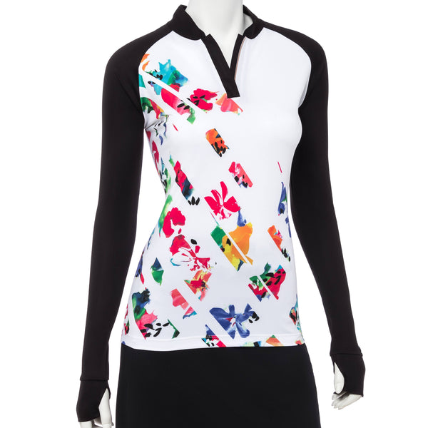 Long Sleeve Diagonal Broken Floral Print Zip Mandarin Mock Neck Polo - EPNY