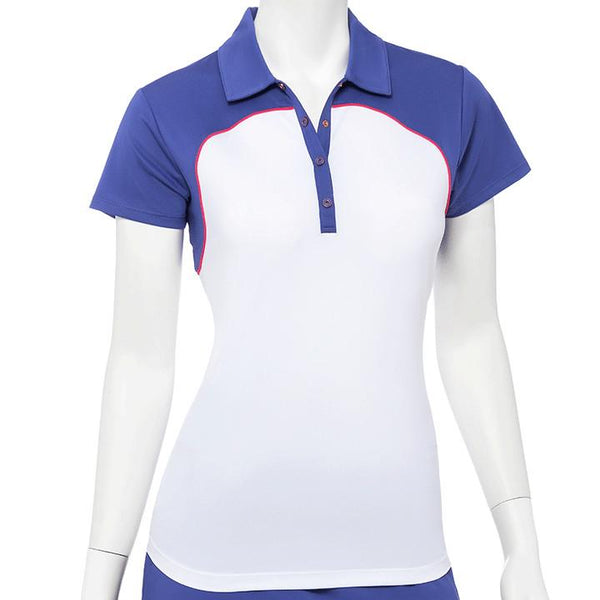 Cap Sleeve Color Block Filament Tape Trim Polo - EPNY