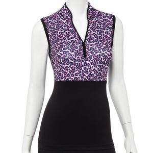 Sleeveless Multi Ikat Leopard Spot Print Polo