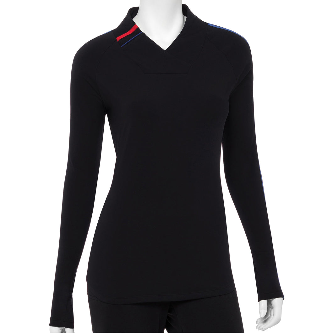 Long Sleeve Contrast Tape And Piping Trim Crossover Collar Polo