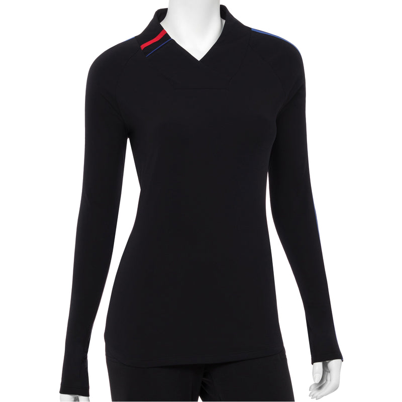 Long Sleeve Contrast Tape And Piping Trim Crossover Collar Polo - EPNY