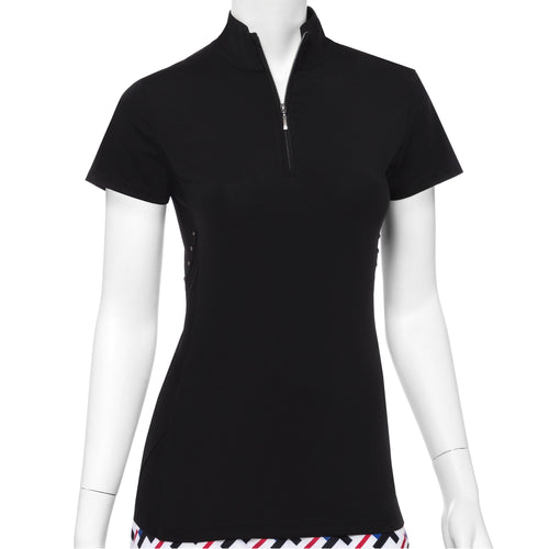 Cap Sleeve Faceted Stud Tape Trim Convertible Zip Collar Polo