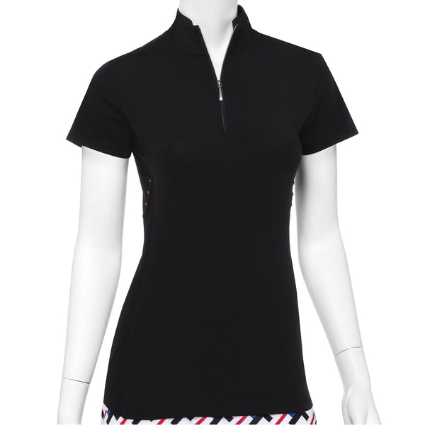 Cap Sleeve Faceted Stud Tape Trim Convertible Zip Collar Polo - EPNY