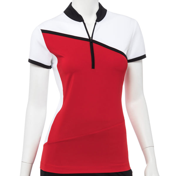 Cap Sleeve Color Block Mandarin Zip Collar Polo - EPNY